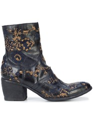 Fauzian Jeunesse Embroidered Ankle Boots Leather Rubber 38.5 Blue