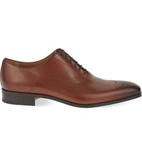 Stemar Punch Toe Leather Oxford Shoes Tan