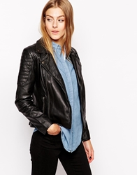Barney's Originals Barneys Leather Biker Jacket With Shoulder Detail Black