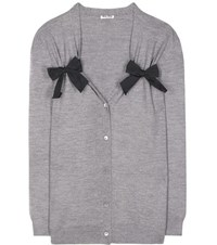 Miu Miu Virgin Wool Cardigan Grey