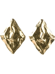 Yves Saint Laurent Vintage Art Diamond Earrings Metallic
