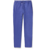 Mr P. Tapered Garment Dyed Linen Drawstring Trousers Blue