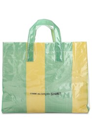 Comme Des Garcons Xl Plastic Covered Woven Tote Bag Green Yellow