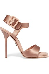 Paul Andrew Kalida Satin And Suede Sandals Antique Rose