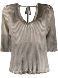 Twin Set Ribbed Lurex Knitted Top Grey