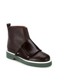 Marni Banded Leather Booties Brown Black