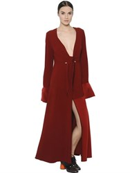 Sportmax Belted Crepe And Techno Satin Dress
