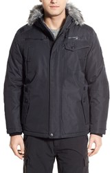 Men's Point Zero Hooded Jacket With Faux Fur Trim Charcoal