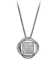 David Yurman Infinity Small Pendant Necklace With Diamonds Silver