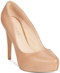 Charles By Charles David Frankie Platform Pumps Women's Shoes Nude Leather