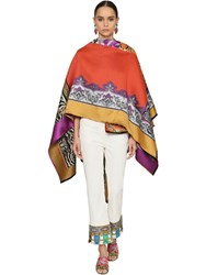 Etro Jacquard Wool Blend Cape Shawl Multicolor