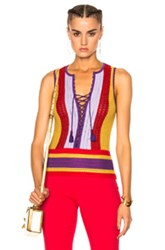 Roberto Cavalli Lace Up Top In Abstract Red Purple Yellow Abstract Red Purple Yellow