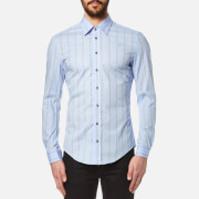 Vivienne Westwood Man Men's Stretch Poplin Stripe Long Sleeve Shirt Sky Blue