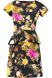 Etro Floral Print Cotton Peplum Dress Multi