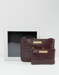 Carvela Mock Croc Pouch And Zip Coin Purse In Gift Box Wine Red