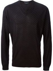 Dolce And Gabbana Polka Dot Print Sweater Black