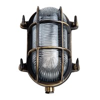 Old School Electric Oval Bulkhead Outdoor Wall Light Antique Brass Bronze