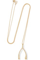 Jennifer Meyer Wishbone 18 Karat Gold Diamond Necklace