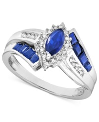 Macy's Sterling Silver Ring Sapphire 1 1 5 Ct. T.W. And Diamond Accent Ring
