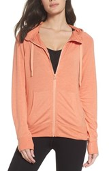 Zella Well Played Zip Fleece Hoodie Coral Reef Heather