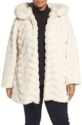 Gallery Plus Size Women's Hooded Chevron Faux Fur Coat