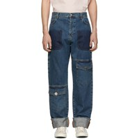 J.W.Anderson Jw Anderson Blue Shaded Multi Pocket Jeans