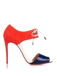 Christian Louboutin Mayerling Patent Leather And Suede Sandals