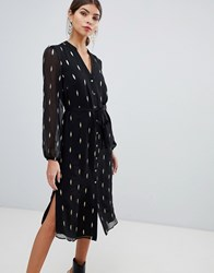 Oasis Foil Printed Feather Shirt Dress In Black Multi