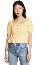 The Fifth Label Hummingbird Check Top Daffodil White