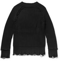 Haider Ackermann Distressed Cotton And Cashmere Blend Sweater Black
