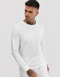 Bodywear Heritage Debossed Logo Crew Neck Sweat In White