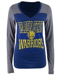 5Th And Ocean Women's Golden State Warriors Dunk Long Sleeve T Shirt Royalblue Gray