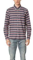 Penfield Hants Brushed Cotton Stripe Shirt Navy