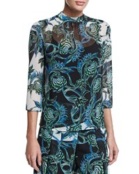 Just Cavalli Ikebana Print High Collar Blouse Multi Color