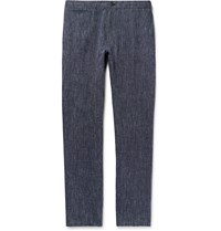 Club Monaco Navy Slim Fit Striped Linen Trousers Blue