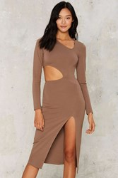 Nasty Gal Side To Side Cutout Dress Beige Mocha