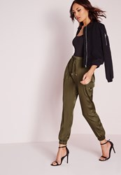 Missguided Cargo Buckle Detail Joggers Khaki Beige