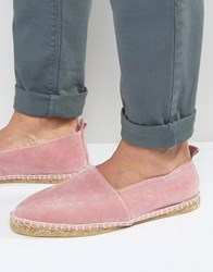 Asos Espadrilles In Pink Faux Suede With Back Pull Pink