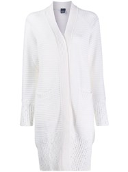 Lorena Antoniazzi Long Ribbed Cardigan White