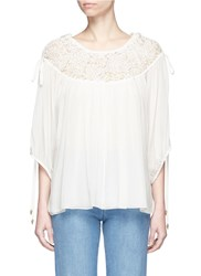 Chloe Embroidered Mesh Drawstring Yoke Crepon Blouse White