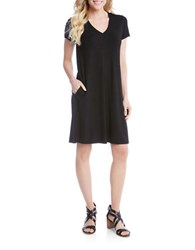Karen Kane Quinn V Neck Pocket Dress Black