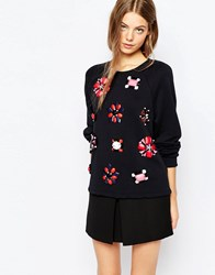 Sportmax Code Embellished Sweatshirt In Black 003 Black