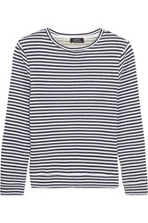 A.P.C. Atelier De Production Et De Creation Striped Cotton Sweatshirt Navy