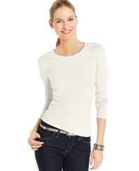 Charter Club Solid Long Sleeve Pima Cotton Top Cloud