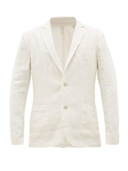 120 Lino Single Breasted Slubbed Linen Suit Jacket Cream