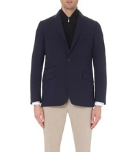 Corneliani Contrast Collar Single Breasted Wool Jacket Navy