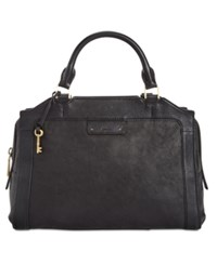 Fossil Logan Leather Satchel Black