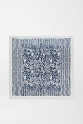 Loro Piana Fringed Printed Cashmere And Silk Blend Scarf Navy