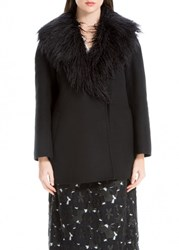 Leon Max Double Weave Wool Coat With Fur Collar