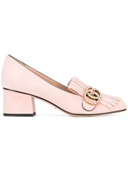 Gucci Mid Heel Gg Faux Pearl Pumps Women Leather Suede 36.5 Pink Purple